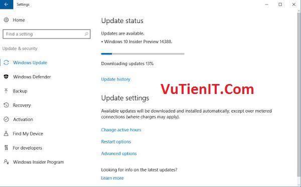 Update & Security windows