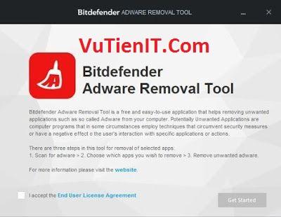 chap nhan cac dieu khoan cua Bitdefender Adware Removal Tool