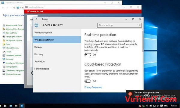 tat phan men diet virut Windows Defender tren windows 10 2