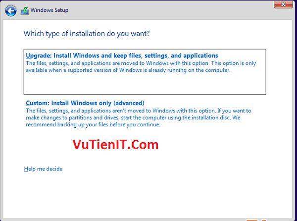 Custom (advanced) windows 10