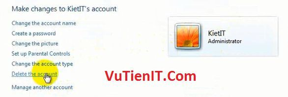 vao Manage Account xoa account cu
