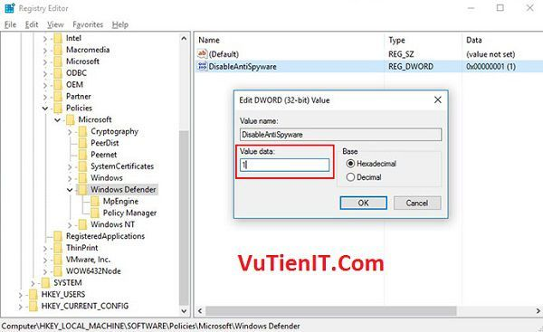 vo hieu hoa windows defender bang registry 2
