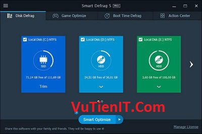 Download Smart Defrag phan men chong phan manh o cung win 7 8 10 tot nhat