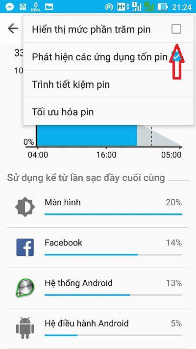 hien thi phan tram pin tren android