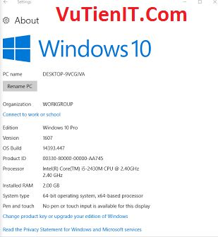 tai windows 10 1607 update