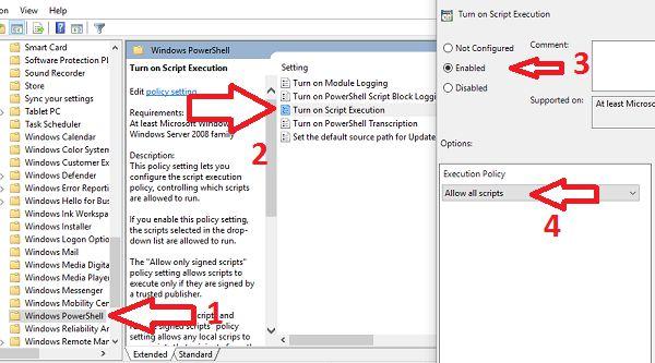 Turn on Script Execution Windows PowerShell