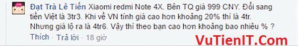 gia dien thoai Xiaomi Redmi 4X