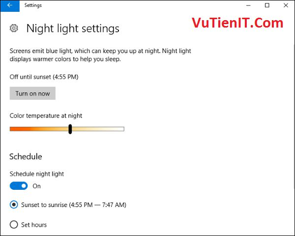 night light settings windows 10