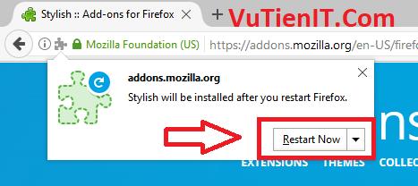 restart now Firefox