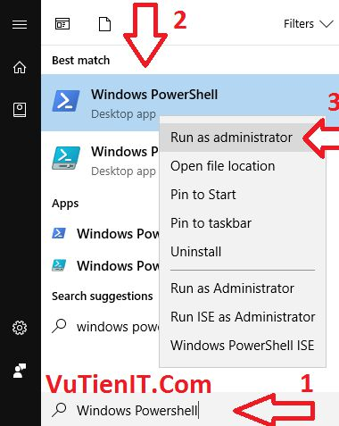 run Windows Powershell windows 10