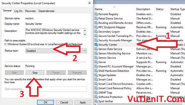 Disable Windows Security Center Service