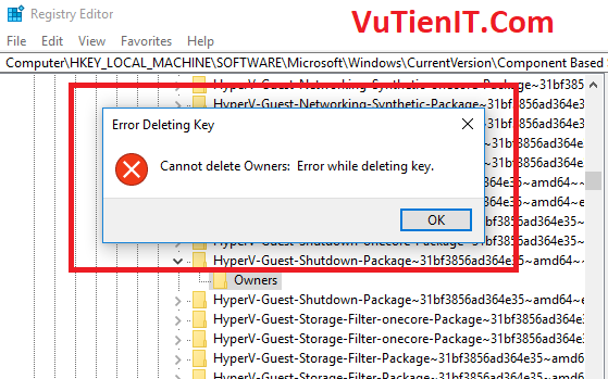 cannot delete owners error while deleting key