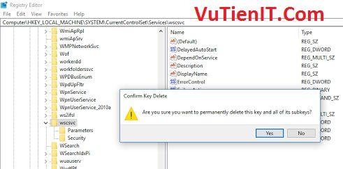 delete wscsvc in Services windows 10