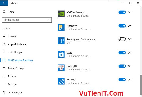 off security and maintenance windows 10