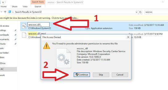 rename or delete file wscsvc.dll in wondpws 10
