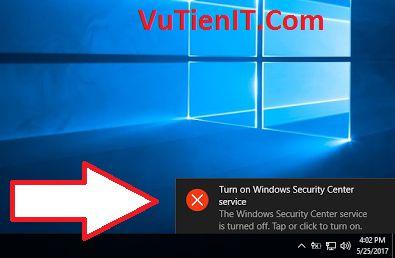turn on windows security center service