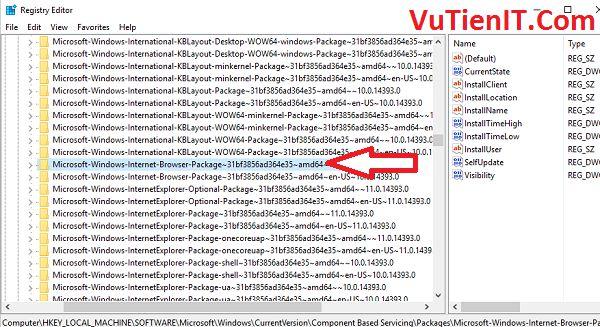 uninstal Microsoft Edge in regedit windows 10