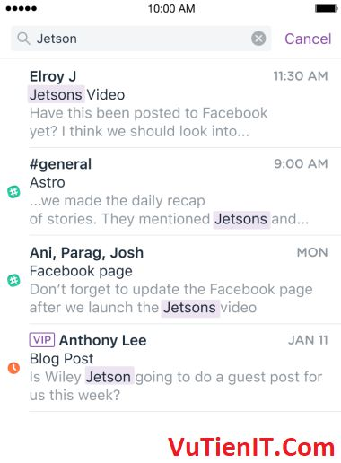 astro email universal search slack ios