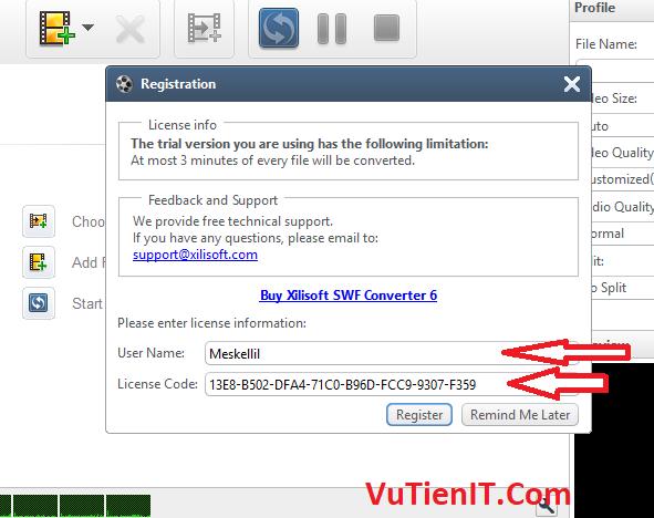 key ban quyen Xilisoft SWF Converter 01