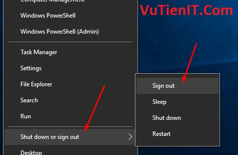 sign out windows 10 1709