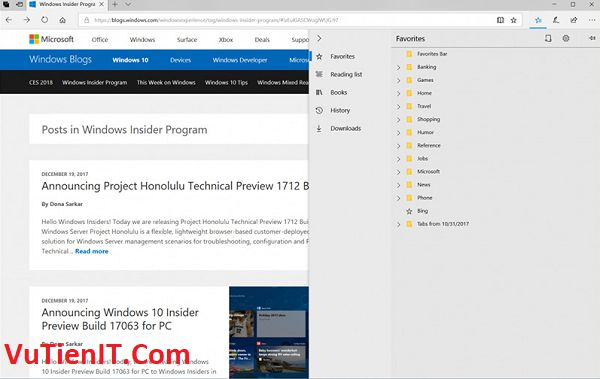 Microsoft Edge Windows 10 build 17074