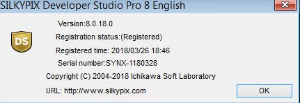 Activate SILKYPIX Developer Studio Pro 8.0. 7
