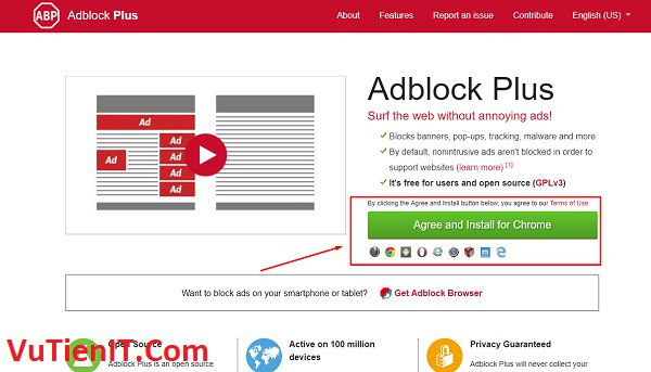 Adblock Plus add on chan quang cao