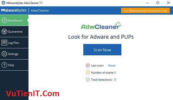 AdwCleaner 7.1 Phan mem chan quang cao doc hai may tinh
