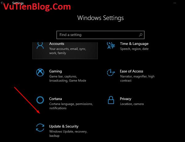Update & Security windows 10 1903