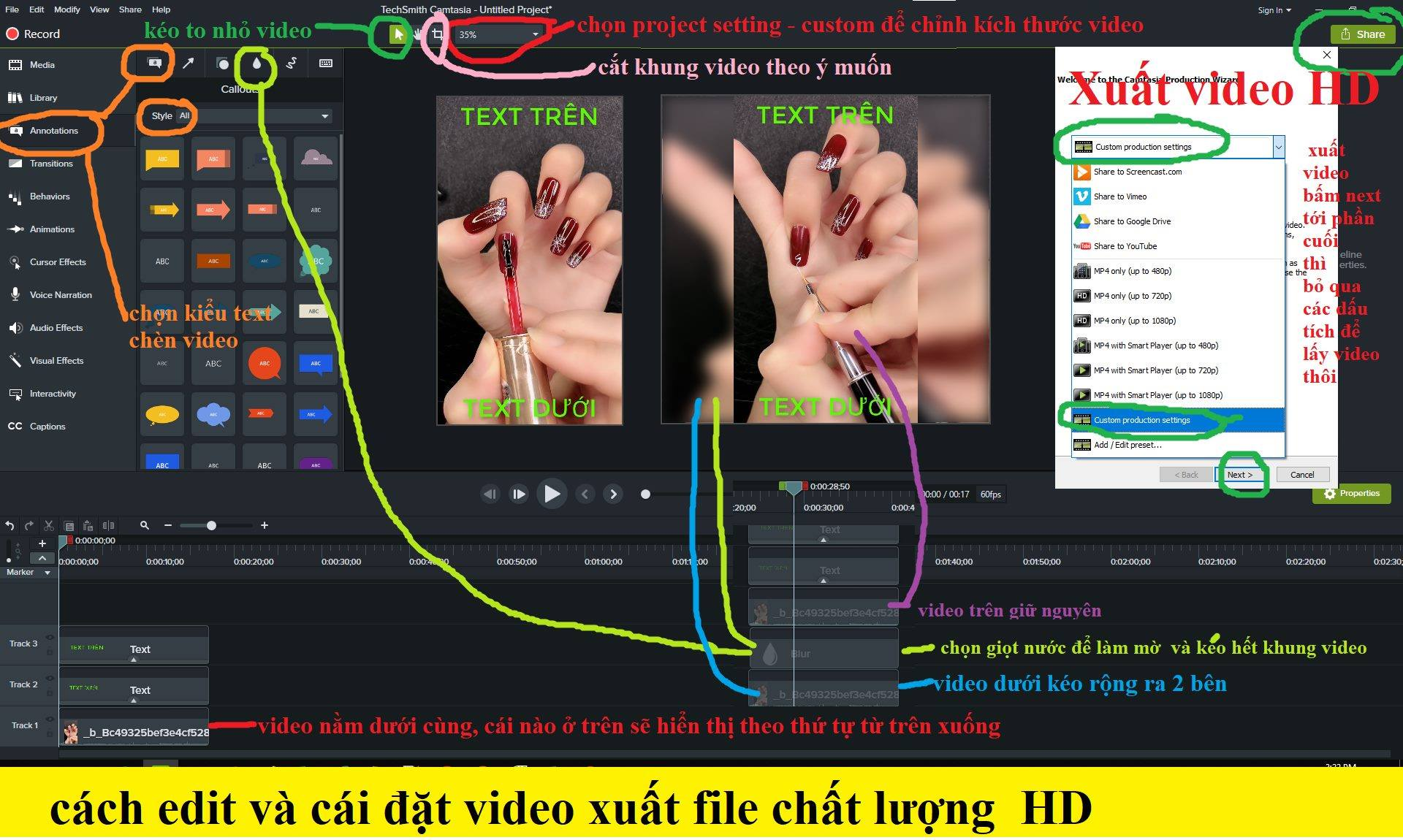 chinh sua video bang camtasia