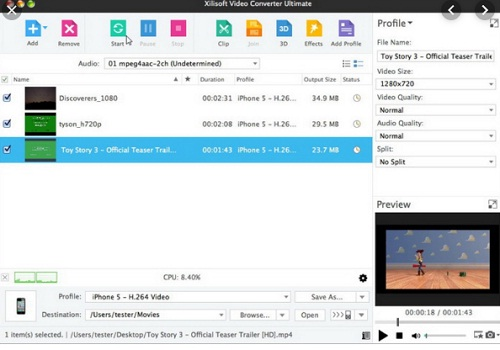 phan mem chuyen doi dinh dang video Xilisoft Video Converter 7.8